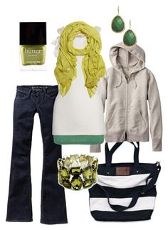 """""""spring green"""" by htotheb ❤ liked on Polyvore featuring Butter London, Abercrombie & Fitch, Uniqlo, Old Navy, Scoop, Juicy Couture, Missoni, Fantasy Jewelry Box, horizontal stripes and green"""