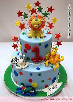 Detské inšpirácie » Torta Dvoj poschodová torta pre deti, torta lev zebra krokodil žirafa