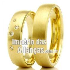 Alianças de casamento e noivado Largura 5.0mm Pedras 6 diamantes de 1 ponto Acabamento Fosco Formato Anatômico Peso 9,00 gramas o par