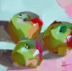 Three Apples no. 4 original still life apple fruit painting by Angela Moulton