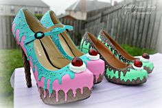 drippy icecream cupcake custom made heels shoes one of the kind, Pastel Goth, Fairy Kei, Kawaii,cute,harajuku, alternative by PastelDreamShoes on Etsy https://www.etsy.com/listing/193296173/drippy-icecream-cupcake-custom-made