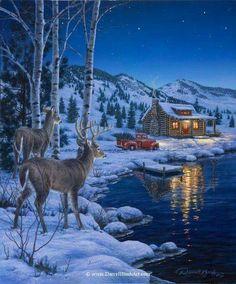 At Waters Edge — Darrell Bush Art – Winterbilder Christmas Scenes, Christmas Art, Winter Christmas, Vintage Christmas, Country Christmas, Christmas Greetings, Wildlife Paintings, Wildlife Art, Winter Pictures