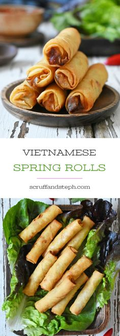 Each one of these fried spring rolls is filled with pork, prawns and a variety vegetables which are seasoned with traditional Vietnamese flavours. Vegetarian Vietnamese, Vietnamese Pork, Vietnamese Recipes, Vegetarian Italian, Learn Vietnamese, Vietnamese Fried Spring Rolls, Vietnamese Egg Rolls, Pork Spring Rolls, Chicken Spring Rolls