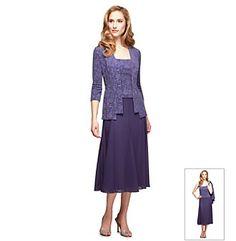 Product: Alex Evenings® Tea Length Mock Jacket Dress    elder-beerman   violet