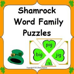 Shamrock Word Family Puzzles - CVC word family literacy center for St. Patrick's Day