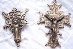 Rosary Set DIY Rosary Center Crucifix by rosebudsupplies