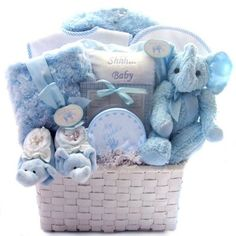 Baby Shower Gift Basket Ideas....all blue for boys & pink for girls.