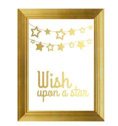 Wish Upon a Star, Gold Print, Bedroom Wall Art, Nursery Poster, Nursery Art