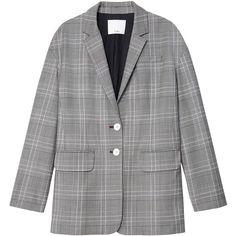 Tibi Jasper Oversized Blazer ($695) ❤ liked on Polyvore featuring outerwear, jackets, blazers, handloom grey multi, double breasted wool jacket, blazer jacket, grey wool jacket, grey jacket and double-breasted blazer