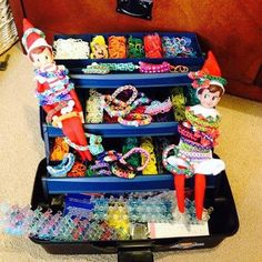Cute Elf on the Shelf idea with the kids rainbow-loom bracelets!!