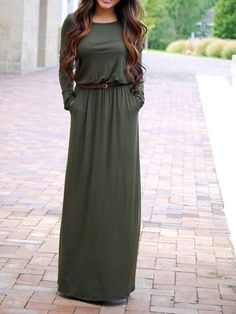 Army Green Long Sleeve Pockets Maxi Dress 13.33