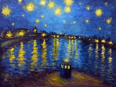 Starry Night Over Cardiff Bay -Casual tardis in the photo -The Saint Doctor Who Fan Art, Vincent Van Gogh, Cardiff Bay, Fandoms, Geronimo, Matt Smith, Wallpaper, Artwork, Pictures
