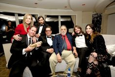 Writers Matthew Shire and Hate Gersten, actor/producer Jason Schwartzman and producer Roman Coppola, winners of Best Series-Musical or Comedy for 'Mozart in the Jungle' director Francis Ford Coppola, musician Robert Schwartzman and photographer Zoey Grossman attend Amazon Studios Golden Globes Party at The Beverly Hilton Hotel on January 10, 2016 in Beverly Hills, California. Amazon Studios Golden Globes Party - Inside
