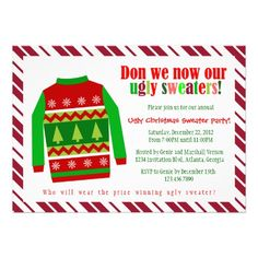 Ugly Christmas Sweater Christmas Party Invitation | Visit the Zazzle Site for More: http://www.zazzle.com/?rf=238228028496470081