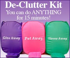 """This is actually how i clean (3 stations)  """"You can do anything for 15 minutes! Fly Lady Blog. Great, motivational blog for the 'baby steps' to develop organizing habits. I like the 3 box system - give away, put away, throw away. Great site!"""""""