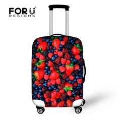 Fashion Brand Fruit Strawberry Print Elastic Luggage Cover Stretch Luggage Cover 18-30 inch Suitcase Luggage Protective Cover