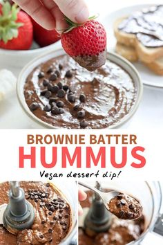 Healthy snacks: This Brownie Batter Hummus is a delicious dessert dip, made with just a handful of healthier ingredients. I love serving it with strawberries or over waffles! Dessert Hummus Recipe, Dessert Dips, Köstliche Desserts, Sugar Free Desserts, Healthy Desserts, Delicious Desserts, Dessert Recipes, Healthy Food, Chocolate Hummus
