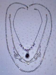 Vintage Rhinestone Crytal Necklaces Princess Strand Amethyst Crystal Lot of 3