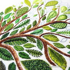 Weekend Stitching: My Leafy Tree Sampler of Sorts – NeedlenThread.com