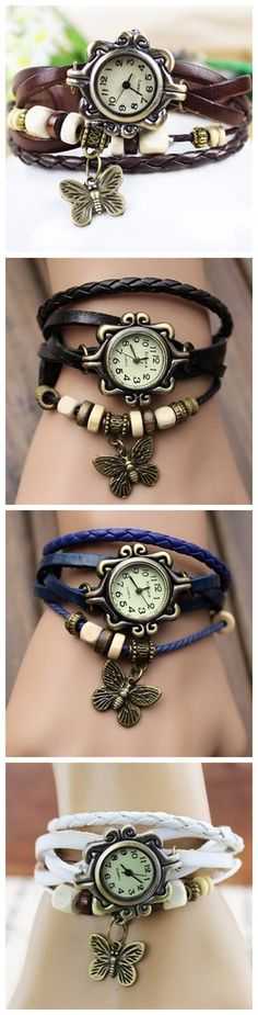 ONLY$4.54  Leather Alloy Butterfly Pendant Wrist Watch | Watches| watches women|women's watches| ladies watches|cute watches| vintage watches| unique watches| simple watches|