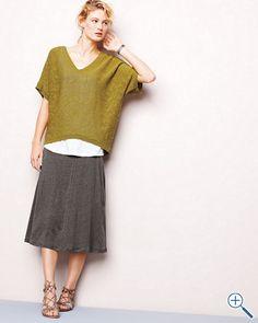 Eileen Fisher Linen Jersey Paneled Skirt