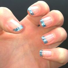 Super cute sparkly French tips