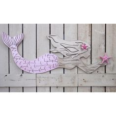 Large Wood Mermaidwith Shimmering Pink Tail~Large Mermaid Wall... ($115) ❤ liked on Polyvore featuring home, home decor, home & living, home décor, silver, wall décor, seashell home decor, metallic home decor, wooden home decor and wooden home accessories Painted Wood Walls, Painted Pots, Wooden Wall Art, Wooden Diy, Mermaid Wall Art, Mermaid Room, Pink Wall Art, Coastal Art, Pink Walls