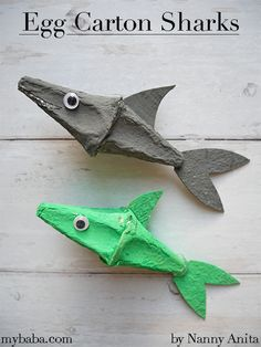Egg Carton Sharks | Nanny Anita | My Baba Air Balloon, Balloons, Junk Modelling, Baby Shark Song, Crafts For Kids, Arts And Crafts, Sharks, Paper Plates, Fun Things