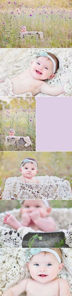 6 month pics Love the lace tablecloth