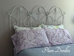 Easy diy headboard using garden trellises. I bought 3 trellises to fit the width of my bed and simply wired them together using picture hanger wire. I covered the wire with clear tape to protect the walls from scratches. Diy Trellis, Garden Trellis, Old Wooden Ladders, Diy Headboards, Iron Headboard, Headboard Ideas, My New Room, Diy Furniture, Apartment Furniture