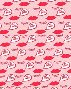 // Pattern of red lips, eyes and speech bubble on a pink background by Bouffants and Broken Hearts Texture Illustration, Pattern Illustration, Surface Pattern, Pattern Art, Pattern Design, Eye Pattern, Pretty Patterns, Beautiful Patterns, Fond Design