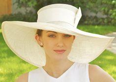 Wide Brim Cream Straw Hat. Kentucky Derby, Church Wedding. $120.00, via Etsy.