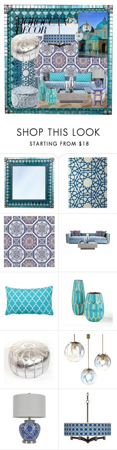 """morrocan decor blue and white"" by juwi777 ❤ liked on Polyvore featuring interior, interiors, interior design, home, home decor, interior decorating, Two's Company, Décor Therapy, Giclee Glow and moroccandecor"