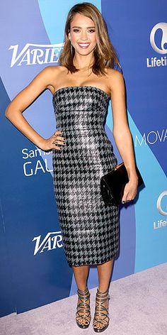 JESSICA ALBA Although we're still lusting after Jessica's jaw-dropping maxi skirt, she gives us even more motivation to hit the gym as she steps out in a form-fitting strapless houndstooth midi with strappy sandals at Variety's Power of Women luncheon in L.A. Noticeably subdued in her sleek blowout? The star's recent ombré highlights.