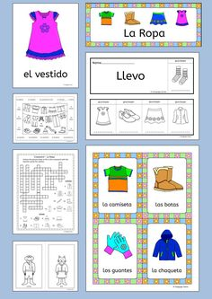Spanish Clothes - La Ropa. 76 pages of fun resources to teach 16 Spanish words for clothes, great for elementary students.