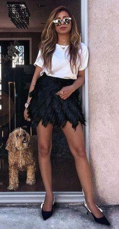 Trendy Outfit Idea White Tee Plus Black Skirt Plus Heels