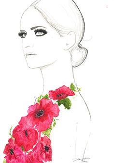 Original watercolor and pen fashion illustration by Jessica Durrant titled, Always the Flower Child