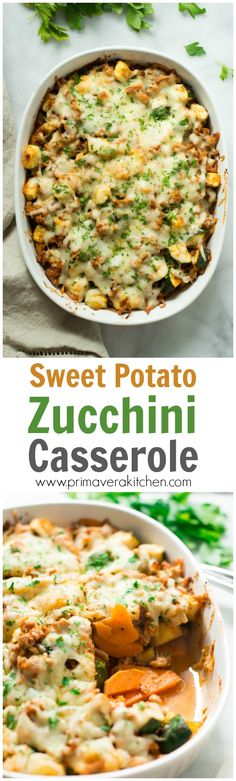 sweet-potato-zucchini-casserole - This Sweet Potato Zucchini Casserole recipe is incredible flavourful gluten-free easy to make and it'll be on your table in less than 30 minutes. It's also an one-pan meal loaded with protein vitamins and nutrients. Zucchini Casserole, Casserole Recipes, Egg Casserole, Savory Sweet Potato Casserole Recipe, Vegetable Recipes, Vegetarian Recipes, Cooking Recipes, Healthy Recipes, Sweet Potato Recipes Healthy