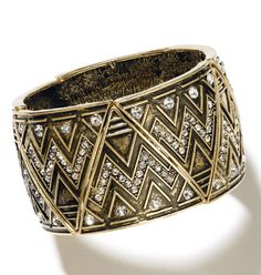Exotic Flair Stretch Bracelet | mark $24 In textured burnished brass with rhinestone details, this zigzag patterned bracelet is sure to get you through the ups and downs of accessorizing! #jewelry