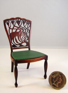 Arts & Crafts A H Mackmurdo Chair scale) Keith Bougourd dollhouse/Miniature Z Miniature Chair, Miniature Furniture, Dollhouse Furniture, Miniature Dolls, Small Furniture, Furniture Making, Wooden Furniture, Arts And Crafts House, Sofas
