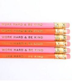 Work Hard & Be Kind Pencils - Orange and Pink , Set of Good reminder for school and for life. Pin Up, Crayon, In Kindergarten, T 4, School Supplies, Office Supplies, Filofax, Inspire Me, Back To School
