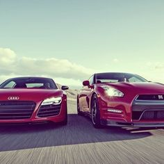 What do you see in this photo? All i see is pure perfection! More Sports Cars, Audi R8, Nissan Gtr 2014, Holidays Quotes, Nissan Gt R, A Quotes, Nissan Cars, Insurance Quotes, Boston Public Libraries Audi R8 x Nissan GT-R #luxury sports cars| http://ferrari-vs-lamborghini-kaci.blogspot.com #Cars #Luxury #Wealth