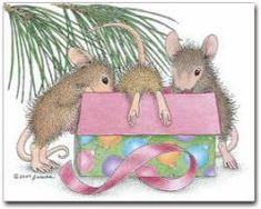 House-Mouse art by Ellen Jareckie jj House Mouse Stamps, Mouse Pictures, Mouse Color, Pet Mice, Hamster, Cute Mouse, Tatty Teddy, Christmas Art, Christmas Animals