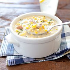 Corn Chowder - A nice crab cake plopped in the center would be perfect!
