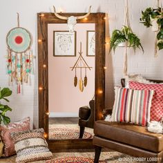For a chic space with all the boho vibes, mix and match colorful patterns with tons of texture alongside airy and earthy elements like dreamcatchers and trailing foliage. Furniture Makeover, Furniture Decor, Living Room Furniture, Furniture Outlet, Furniture Stores, Industrial Furniture, Western Rooms, Western Decor, Western Chic