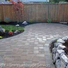 Paver patio with rock wall
