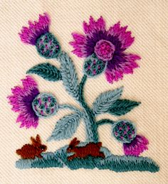 Thistles-Beautiful Crewel Kits - Knitting Crochet Sewing Crafts Patterns and Ideas! - the purl bee Embroidery Designs, Crewel Embroidery Kits, Learn Embroidery, Embroidery Needles, Machine Embroidery, Purl Bee, Seed Stitch, Cross Stitch, Craft Patterns