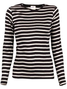 $79.00 on @Keaton Row website, arranged with full of fashion... click to see it in action. Edith A. Miller's Striped Crew Neck Long Sleeve Tee is a wardrobe staple that pairs with absolutely everything | Navy and natural white horizontal stripes | Ribbed crew neckline | Long sleeves | Rib knit banding throughout | Fitted silhouette.   100% Cotton   machine wash   Made in the United States