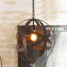"Metal Strap Globe Lantern - Small (17.5""Hx15.75""W) $129.00"