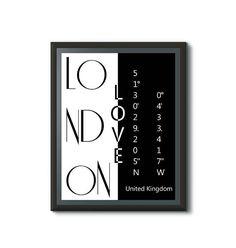 London Liebe Koordinaten Poster. Stadtliebe Poster in schwarz-weiß. Die Liebe zu deiner Stadt, als moderne Deko für die Wände deiner Wohnung. Das Koordinaten Poster kann sofort nach dem Kauf heruntergeladen und ausgedruckt werden. Dann nur noch einrahmen und schon ist die Wandkunst